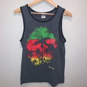 Hang Ten Beach Palm Tree Rasta Tank Top